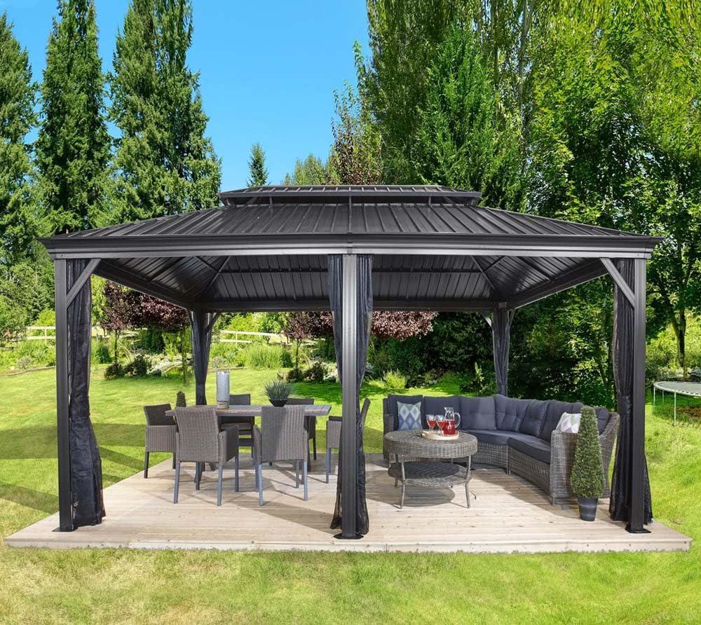 Sojag Messina - Cenador de aluminio con techo rígido (12 x 20 cm ...