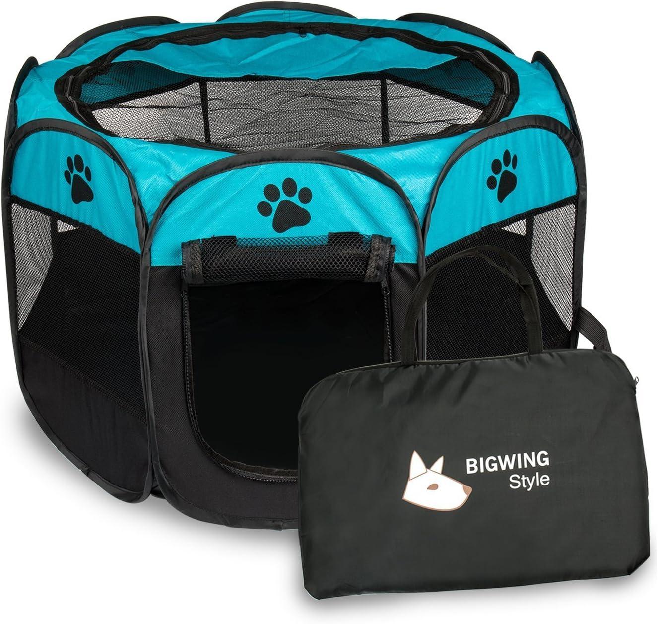 BIGWING Style Parque Mascota de Juego Entrenamiento Dormitorio Perro Gato Conejo Octágono Plegable Lavable Durable 91x 91x 58 CM, Negro y Azúl