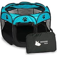 Parque Mascota de Juego Entrenamiento Dormitorio Perro Gato Conejo Octágono Plegable Lavable Durable 91x 91x 58 CM, Negro y Azúl