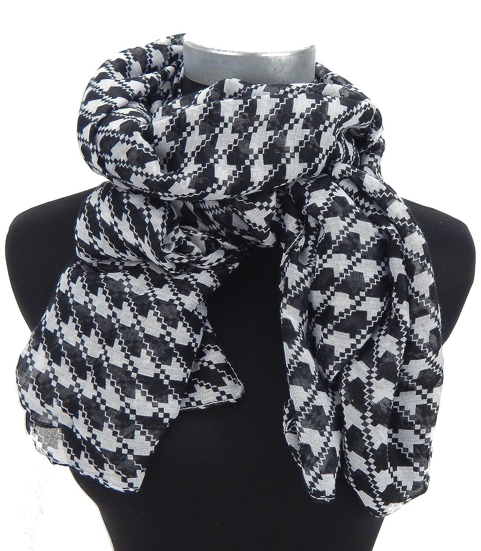 Ella Jonte womens scarf black and white pepita