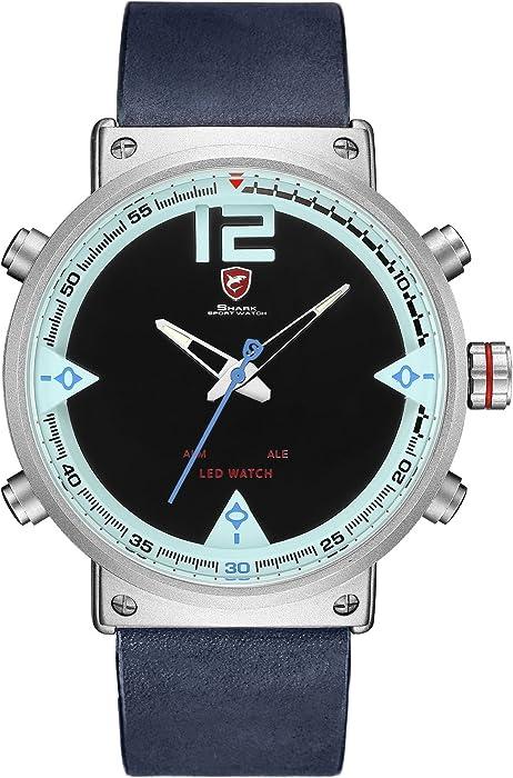 SHARK hombre Cuarzo relojes de pulseras cuero LED fecha día 24 horas Pantalla alarma SH547