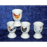 Chicken Egg cups - Set of 4 porcelain egg cups decorated wtih colourful chickens on both sides of each