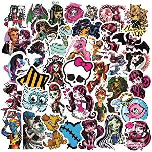 50Pcs Monster High Stickers for Water Bottle Cup Laptop Guitar Car Motorcycle Bike Skateboard Luggage Box Vinyl Waterproof Graffiti Patches LQ