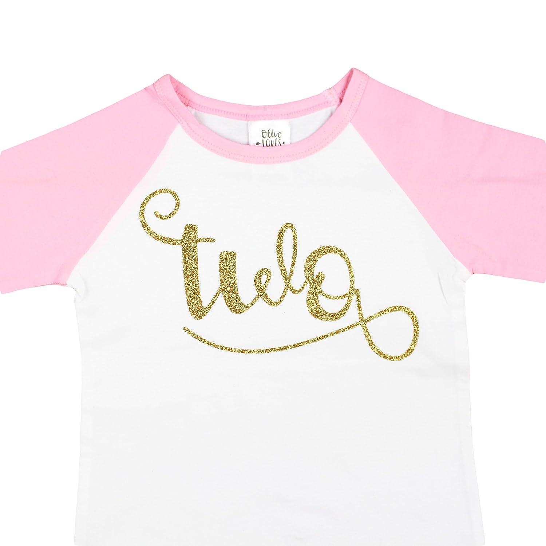47a8cce5 Amazon.com: 2nd Birthday Shirt Girl Cursive Two Glitter Gold Shirt on 3/4  Sleeve Pink Raglan: Clothing