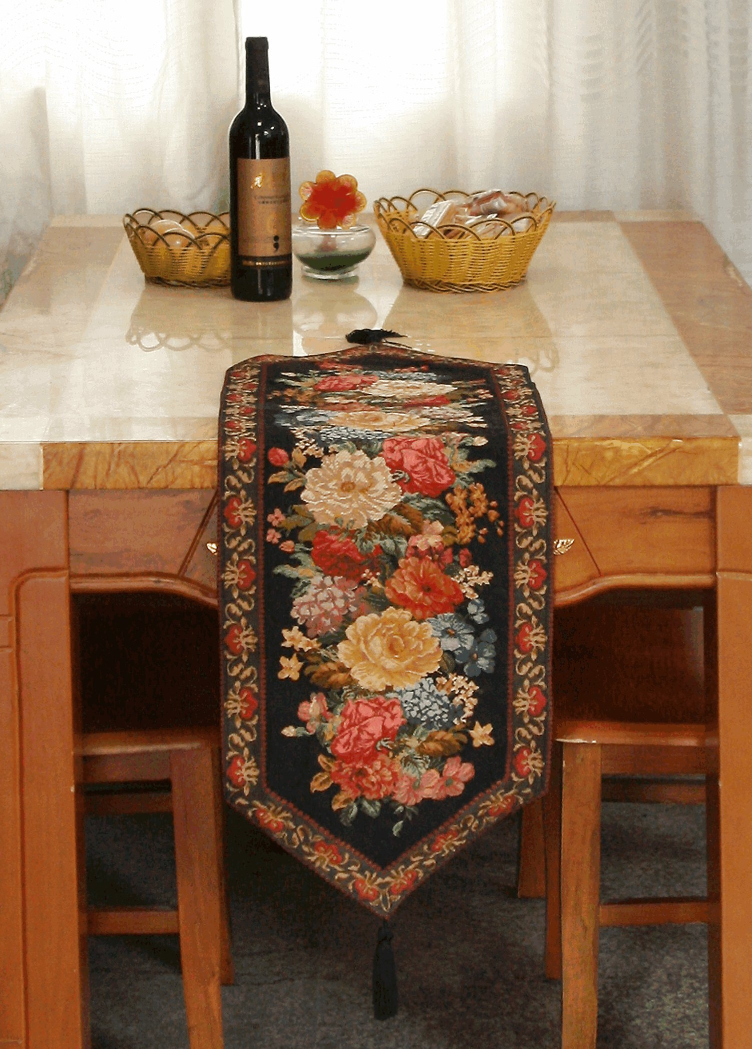 Tache Floral Black Table Runner - Midnight Awakening - Woven Tapestry Country Rustic Table Linen - 13'' x 48''