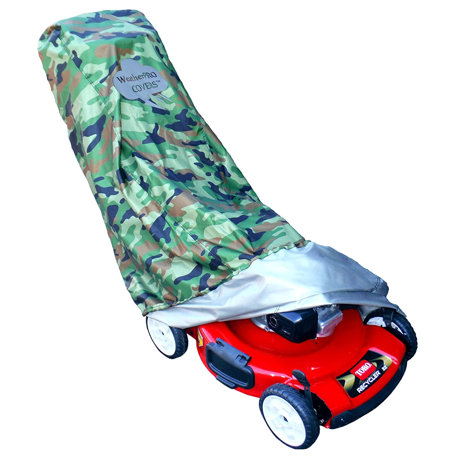 WeatherPRO Lawn Mower Cover - Waterproof Heavy Duty Camo Style - Manufacturer Guaranteed - Weather and UV Protected Covering for Push Mowers - Large Size for Universal Fit WeatherPRO Covers WPC-CLMC300D