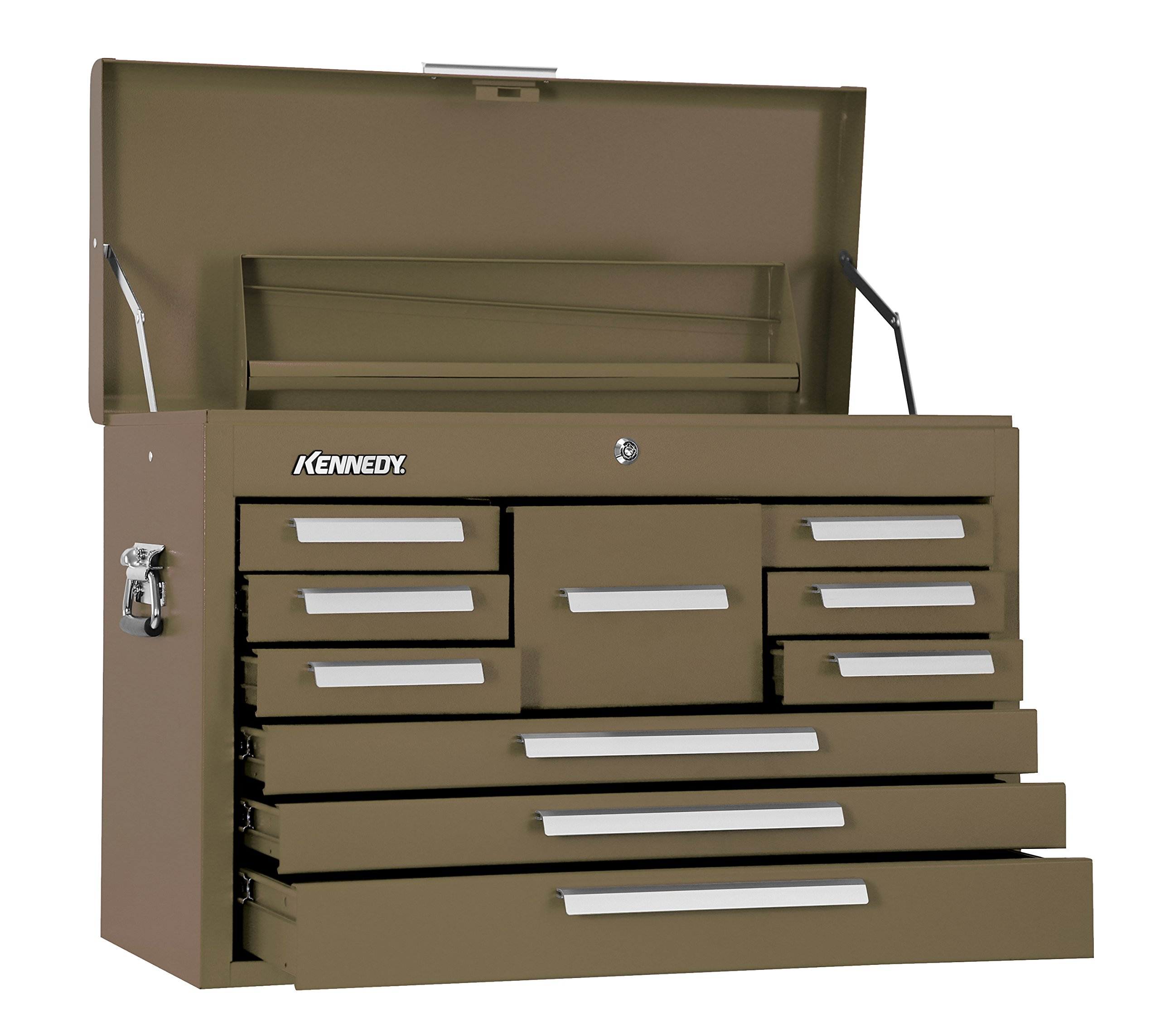 Kennedy Manufacturing 360B 10-Drawer Machinist's Chest with Friction Slides, Brown Wrinkle