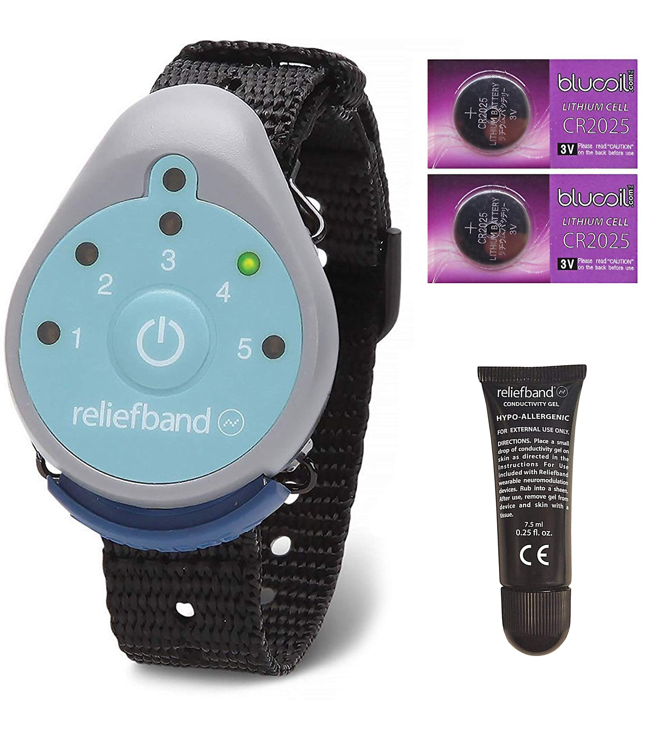 Reliefband for Motion and Morning Sickness Bundle with Replacement Conductivity Gel Tube 7.5ml, and 2 Blucoil CR2025 Batteries by blucoil