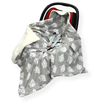 Sided 100 x 100cm Hooded Blanket with SEAT Belt Holes CAR SEAT Blanket//Cover//COSYTOES Victorian Damask//White FOOTMUFF Double