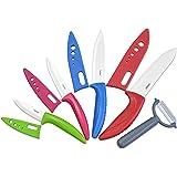 Surpahs YQCKS-1505 5 Piece Ceramic Knife Set with Sheath Sleeve & Peeler, Assorted/White