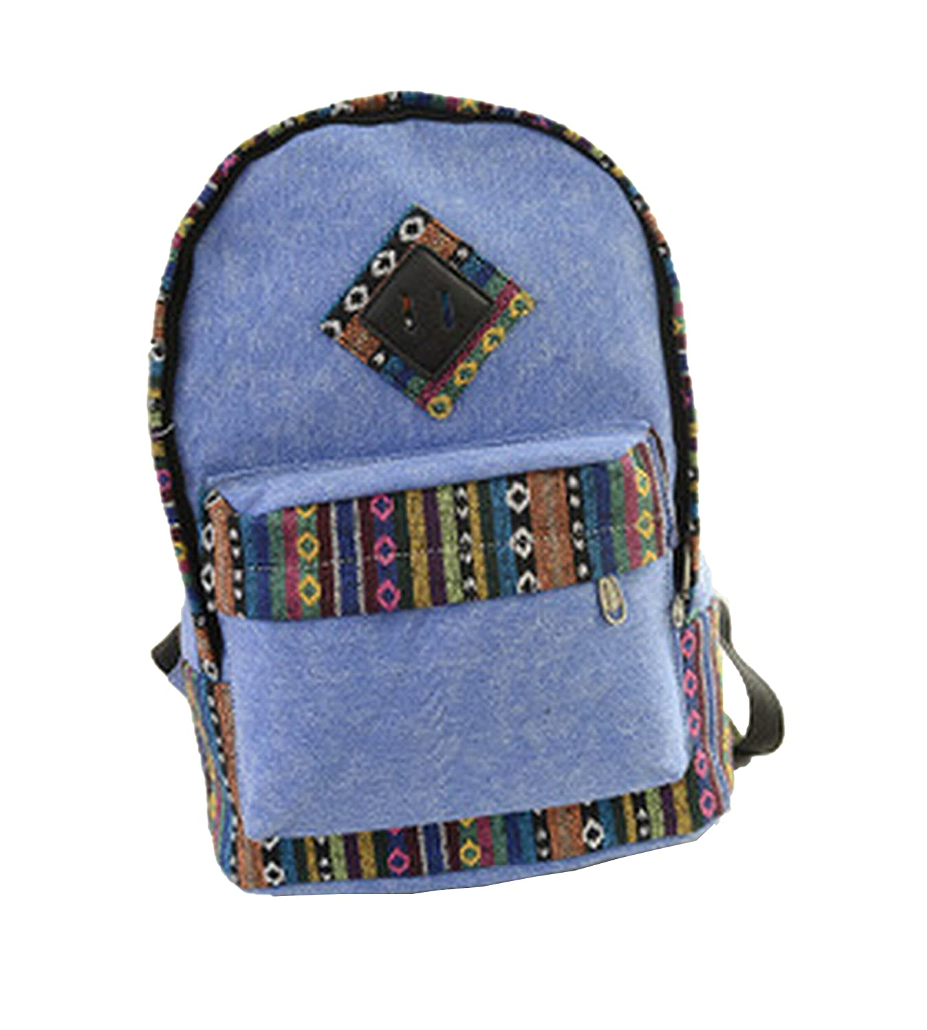 bluee Weilong College Ethnic wind student bag canvas backpack casual travel bag