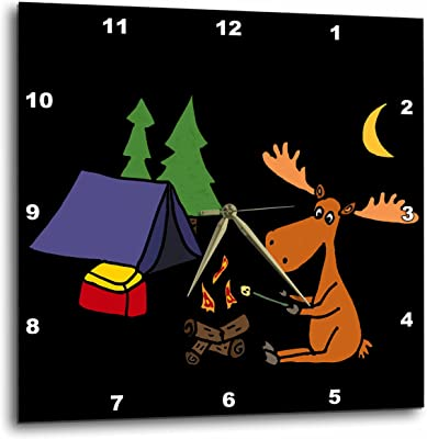 """3D Rose Cool Funny Moose Camping and Roasting Marshmallows Wall Clock, 10"""" x 10"""""""