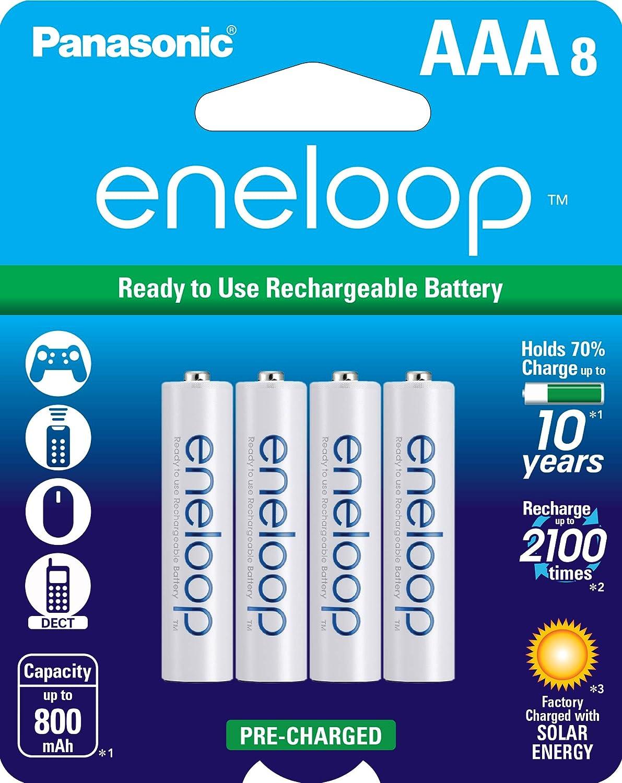 Panasonic BK-4MCCA8BA eneloop AAA 2100 Cycle Ni-MH Pre-Charged Rechargeable Batteries, 8 Pack: PANASONIC: Electronics
