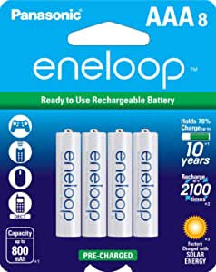 Panasonic BK-4MCCA8BA eneloop AAA New 2100 Cycle Ni-MH Pre-Charged Rechargeable Batteries, 8 Pack