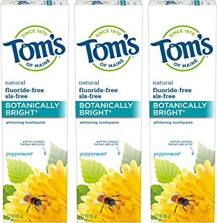 product image for Tom's of Maine Natural Fluoride-Free SLS-Free Botanically Bright Toothpaste, Peppermint, 4.7 oz. 3-Pack