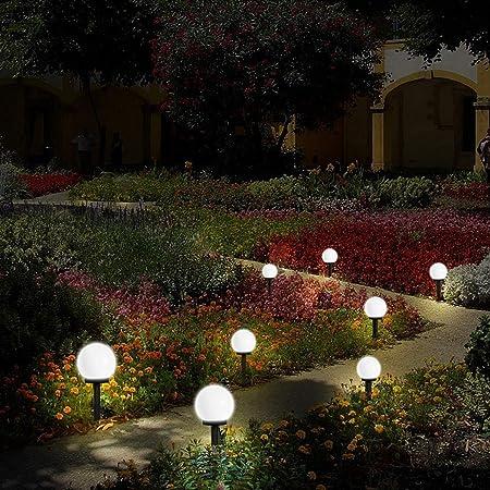 Lámpara solar Bainuojia para jardín, exterior, bola LED, lámpara de jardín, impermeable, con estaca, plástico, diámetro 10 x 33 cm, 8 unidades 8 unidad: Amazon.es: Hogar