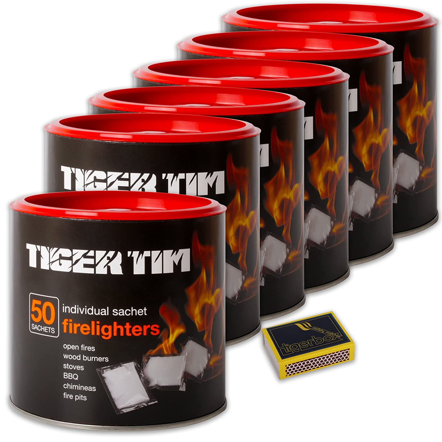 1 X Barrel of 50 Super Clean Long Lasting No Smell Sachet Tiger Tim Firelighters & Tigerbox Safety Matches Tiger Tim / Tigerbox