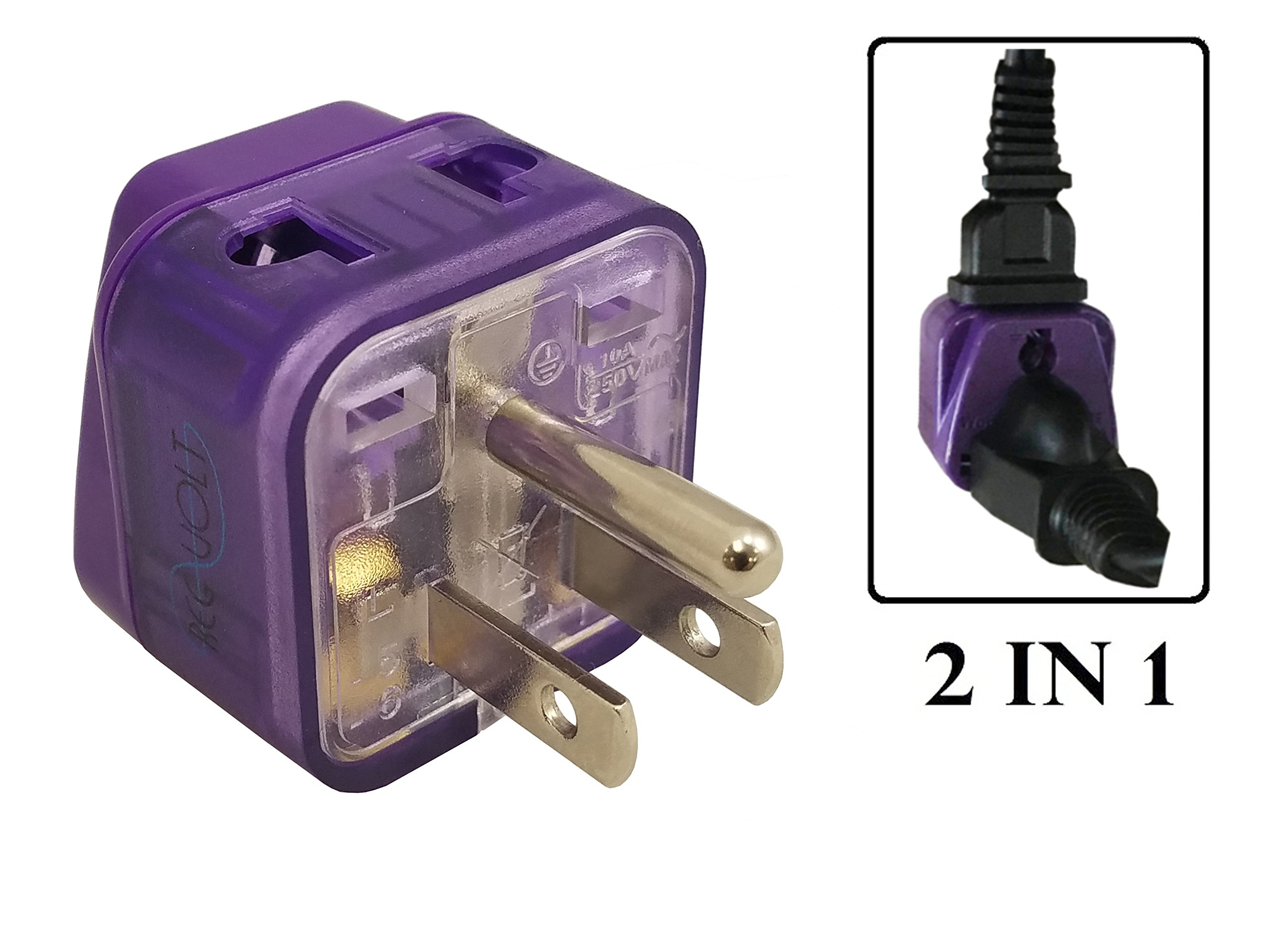 Regvolt AC Power Travel Adapter Plug for USA US Canada South & North America/with Dual Plug-in Ports and Grounded