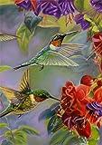"Hummingbird Spring Garden Flag Vibrant Flowers Flying Wildlife 12.5"" x 18"""