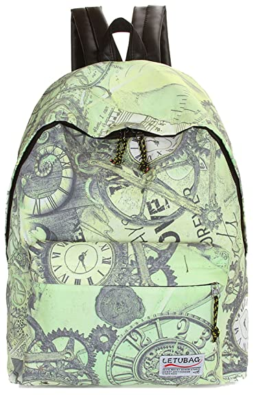 Greeniris femmes casual toile sac à dos femme voyage vintage clock and gear  Impression cartable pour 483d19cd0ea1