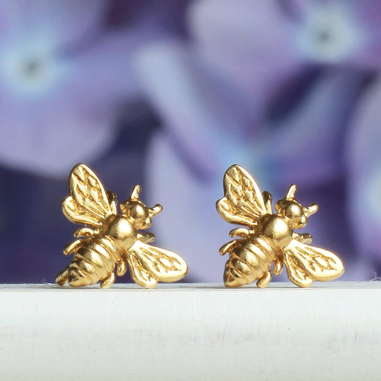 Little Gold Bee Earrings /• 24K Honeybee Studs /• BumbleBee Post /• Handcrafted Jewelry