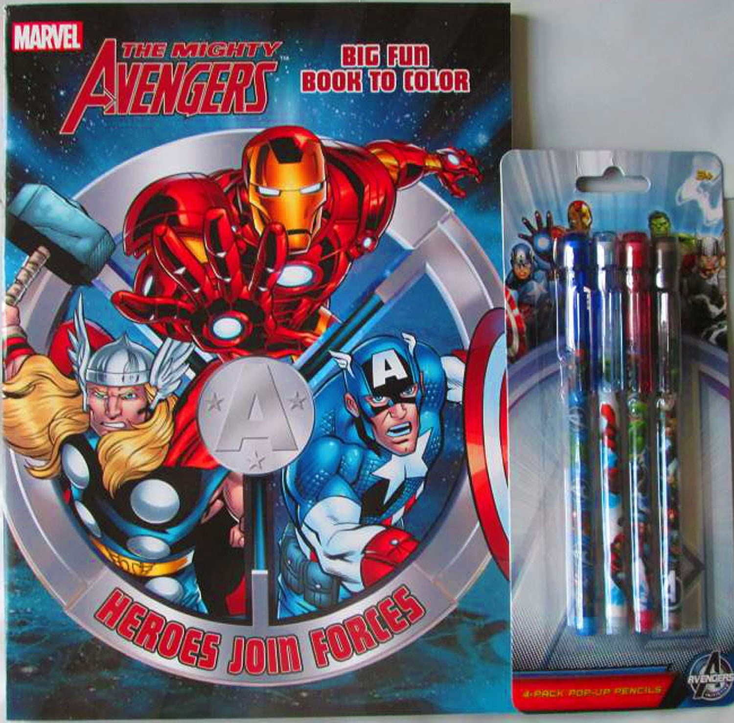 Spiderman or Avengers Play Pack Colouring Sheets Colour Pencils Activity Set New
