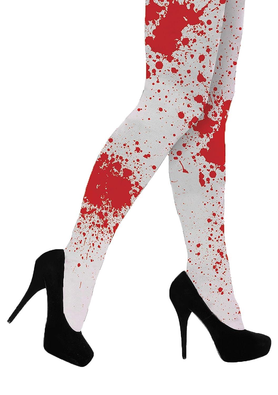 Leggings di Halloween con elastico in vita One misura il formato Emmas Wardrobe collant bianco con il sangue Macchie