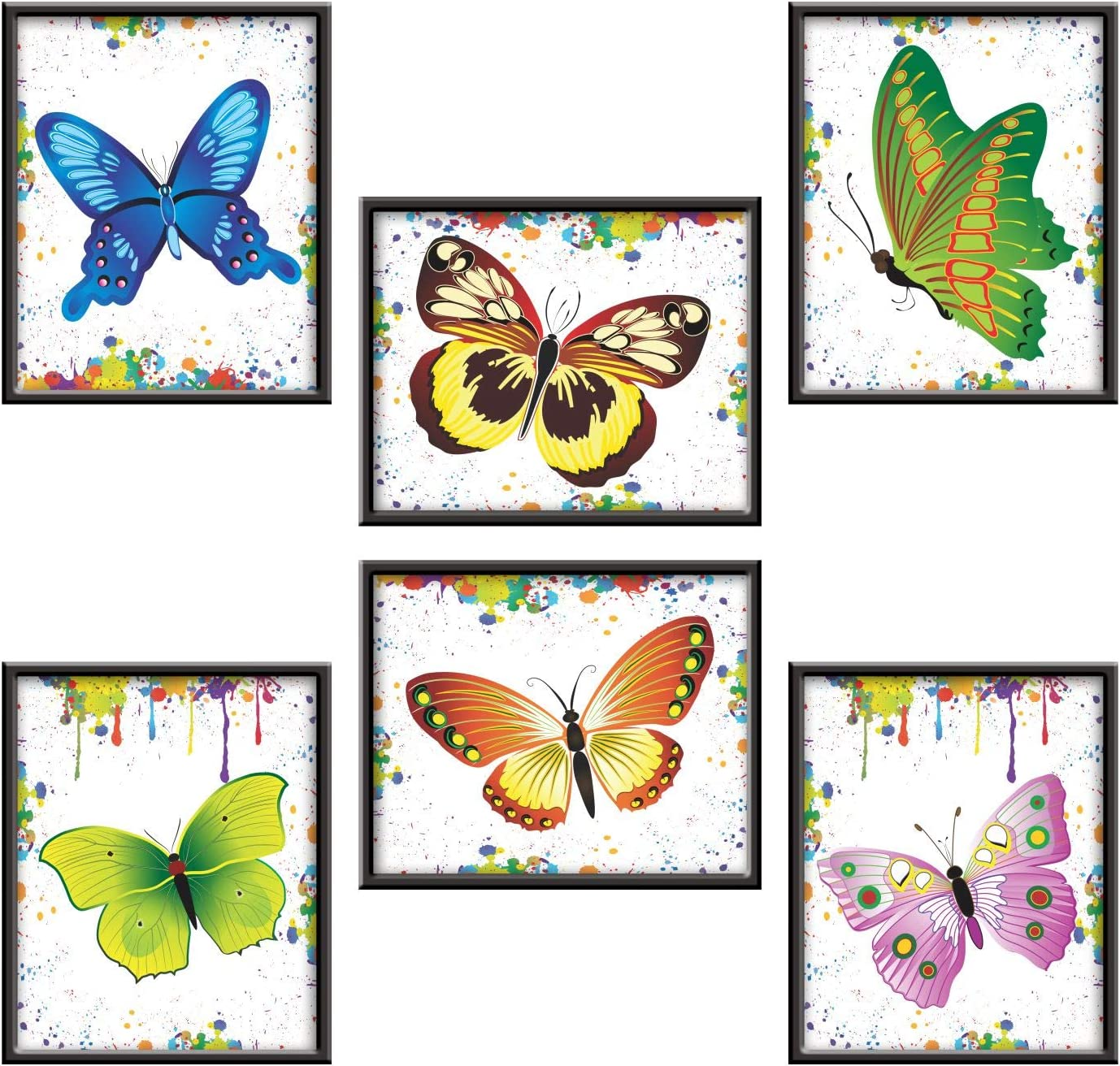Butterfly Art Prints - (Set of 6) Vinyl Stickers 9 x 11 Girls Room Wall Decor No Need to Frame Just Peel and Stick Look Like Framed