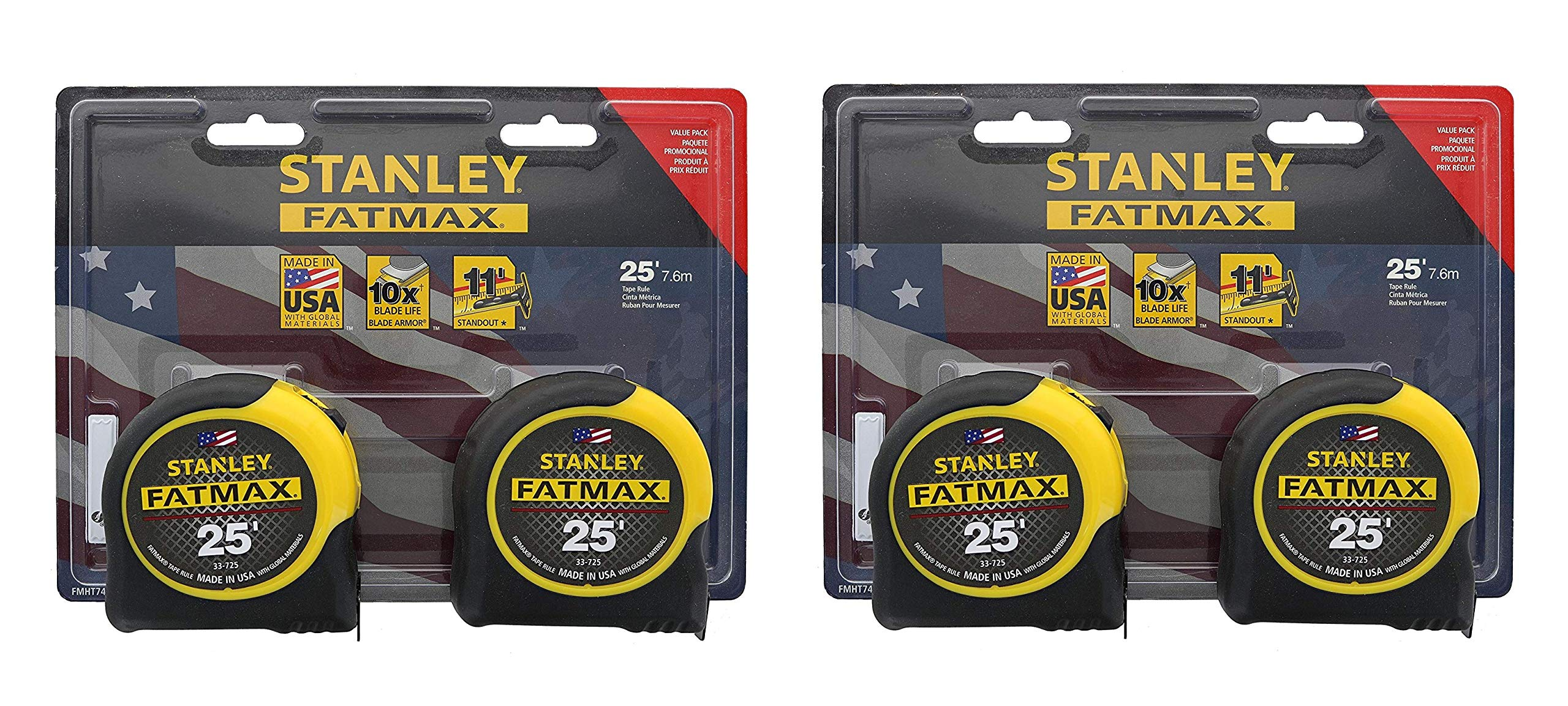 Stanley Consumer Tools FMHT74038 25' Fatmax Tape Measure, 2 Tape Measures per Pack, 4 Tape Measures Total