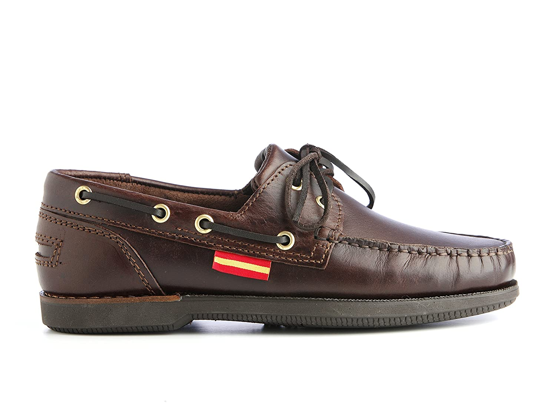 Náutica Banderas Zapatos náuticos 100% piel cosidos a mano con suela antideslizante 44 EU|Marrón