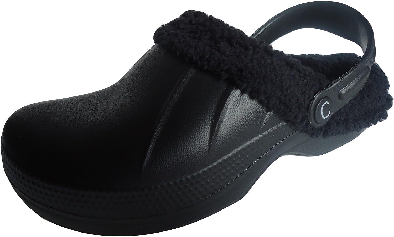 Womens Mens Fur Lined Mules Slippers Winter Slip On Fleece Clogs Size UK 3.5-9.5