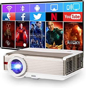 WiFi Projector, 6000 Lumen Support 1920x1080P Home Theater Projector, Wireless Bluetooth Projector, Smartphone Synchronize Screen for iOS and Android, with TV Stick, DVD, PS4, HDMI, VGA, USB, AV