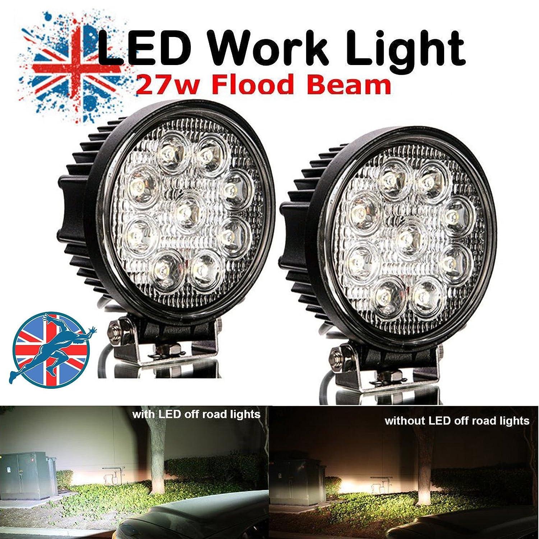 27W 12V 24V Round LED Off Road Work Spot Light Flood Driving Bright Bulb Pack of 2 For ATV Truck UK Stock Bowose Factory
