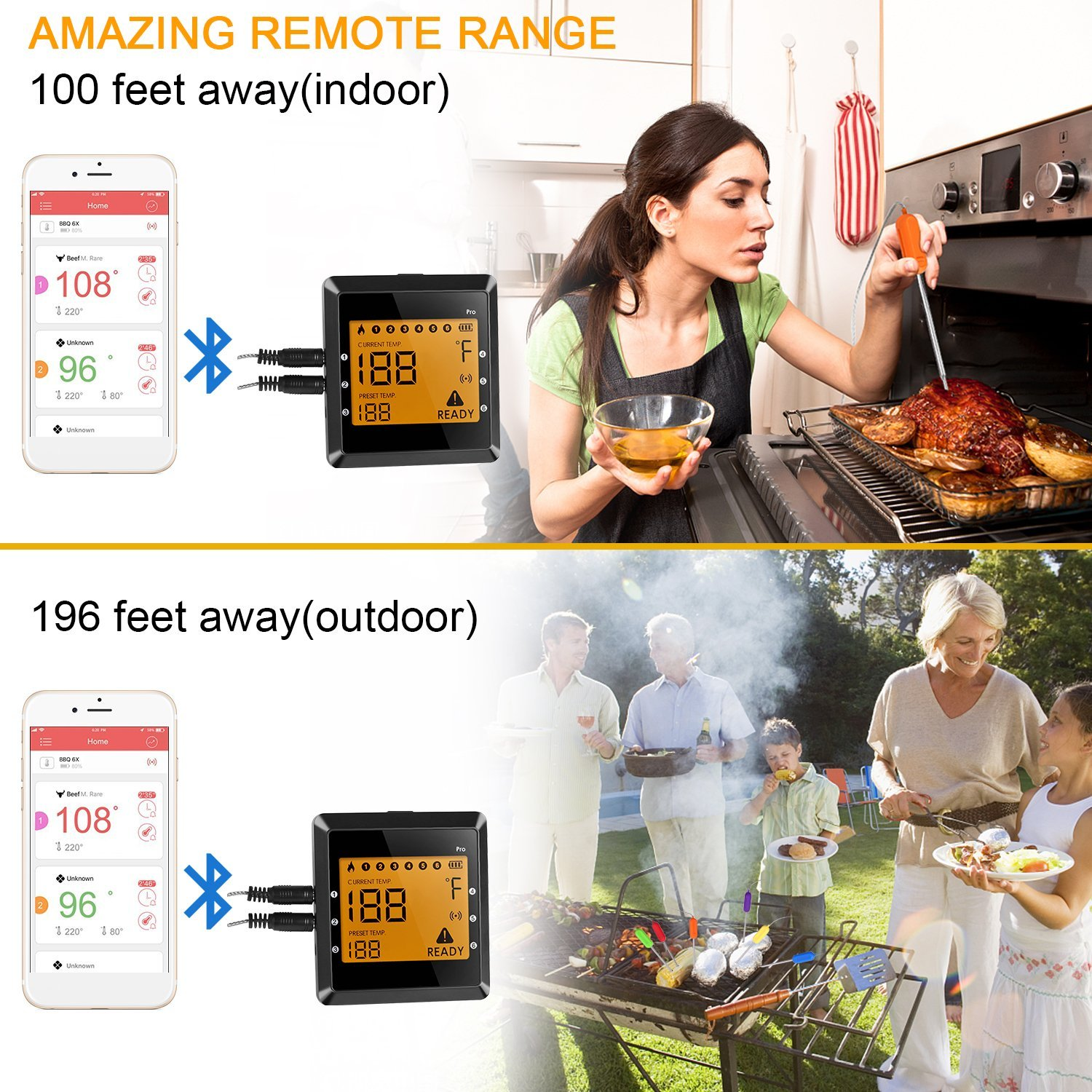 Digital Remote Grill Thermometer Wireless APP Control and Instant Read Barbecue Thermometer with 6 Color-Coded Probes, Temperature Setting and Time Count-down Alarm Function for Smart Grilling and Cooking