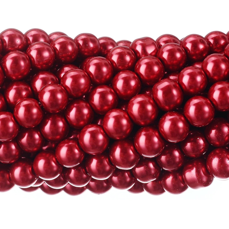 RUBYCA 200Pcs Czech Tiny Satin Luster Glass Pearl Round Beads DIY Jewelry Making 6mm Bordeaux Red by RUBYCA   B00MNZQ4ZK