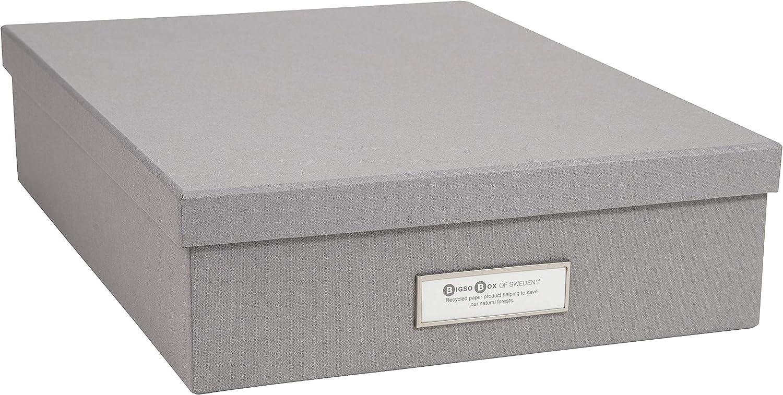 Bigso Oskar Fiberboard Label Frame Document Letter Box, 3.3 x 10.2 x 13.8 in, Grey