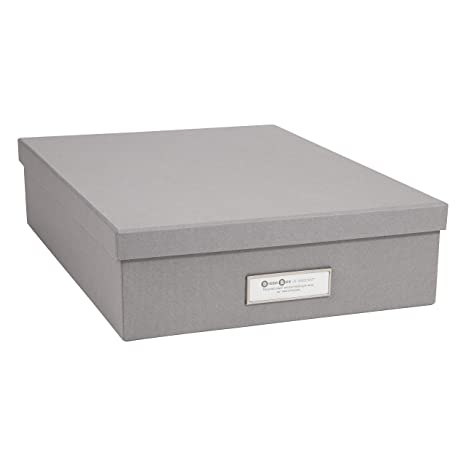 Bigso Oskar Document/Letter Thin Label Frame Storage Box, Grey