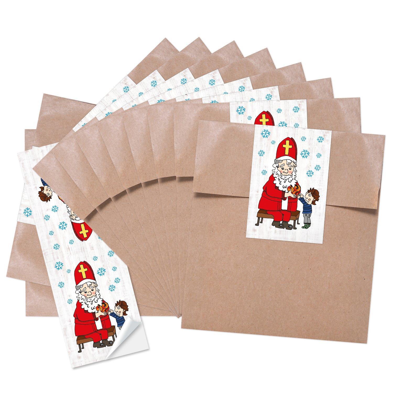 10 pequeñas bolsas marrones weihnac Papel bolsas de regalo (13 x 18 cm) + 10 moldes (5 x 15 cm) Papá Noel con niño de Papá Noel Bolsita de Regalo de Papá ...