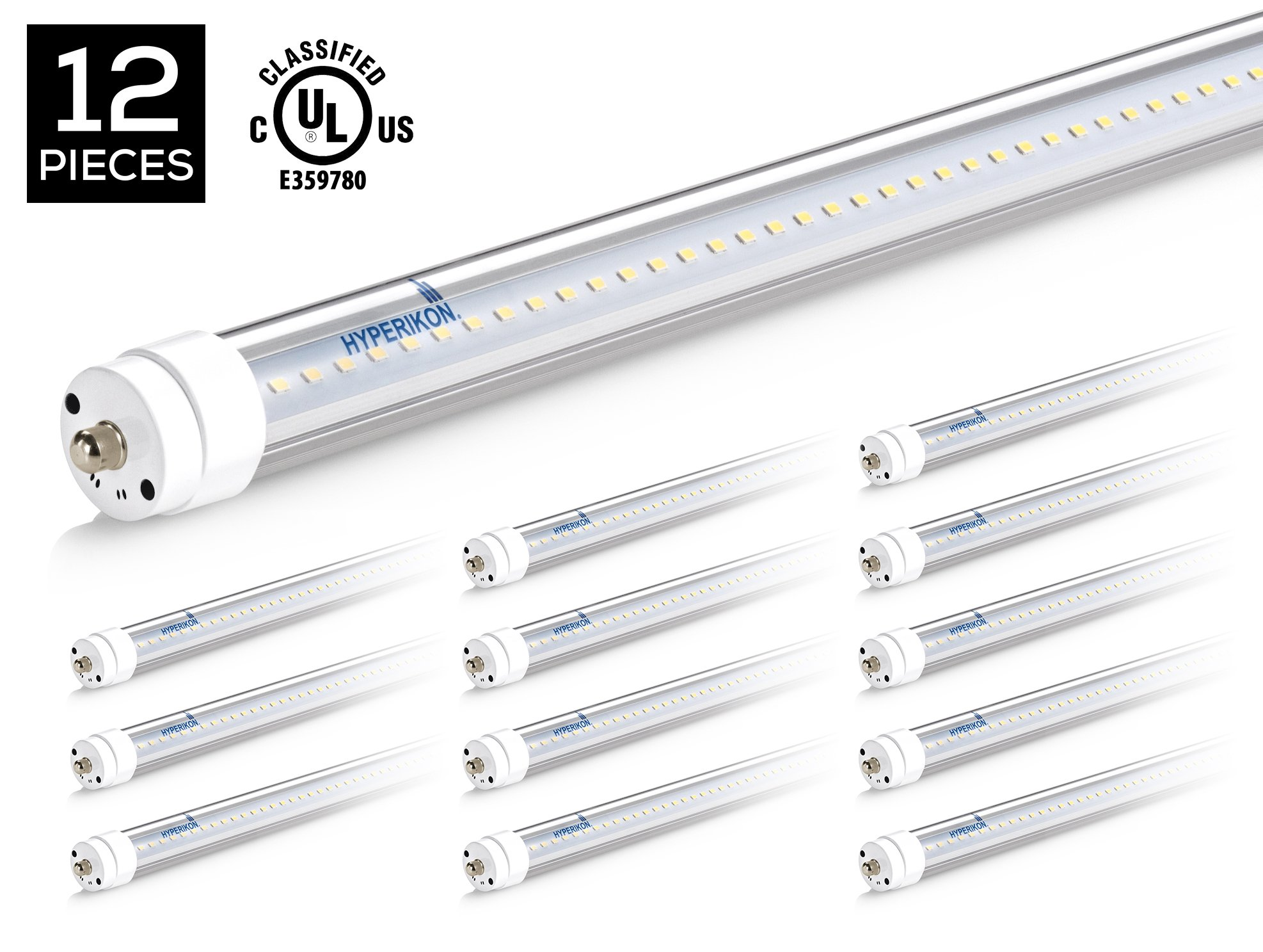 Hyperikon T8 T10 T12 8ft LED Tube Light, 36W (75W Equiv.), Dual-End Powered, Ballast Bypass, Shatterproof, Fluorescent Replacement, 5000k, Clear, 4400 Lumens, Workshop, Warehouse, Garage - 12 Pack
