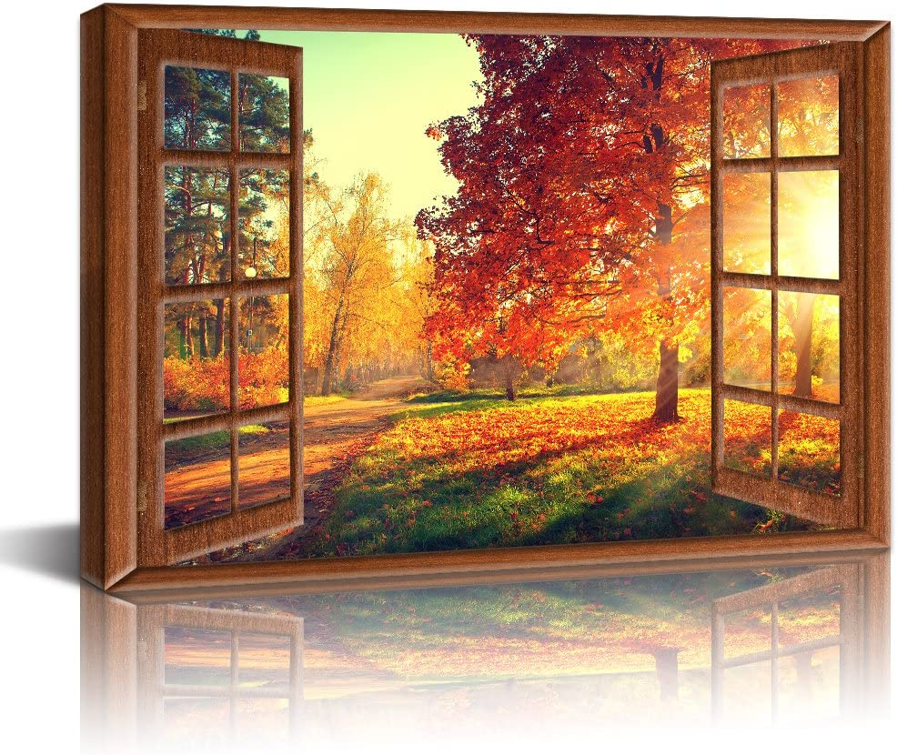 Live Art Decor - Canvas Prints Wall Art,View from Vintage Window of Antumn Scene,Fall Forest Trees in Sun Light Painting Modern Wall Decor,Framed Ready to Hang,-24 x 36