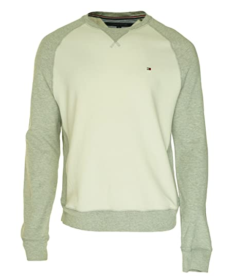Tommy Hilfiger Mens Colorblock Long Sleeves Crew Sweatshirt White S ... 15de6fd312