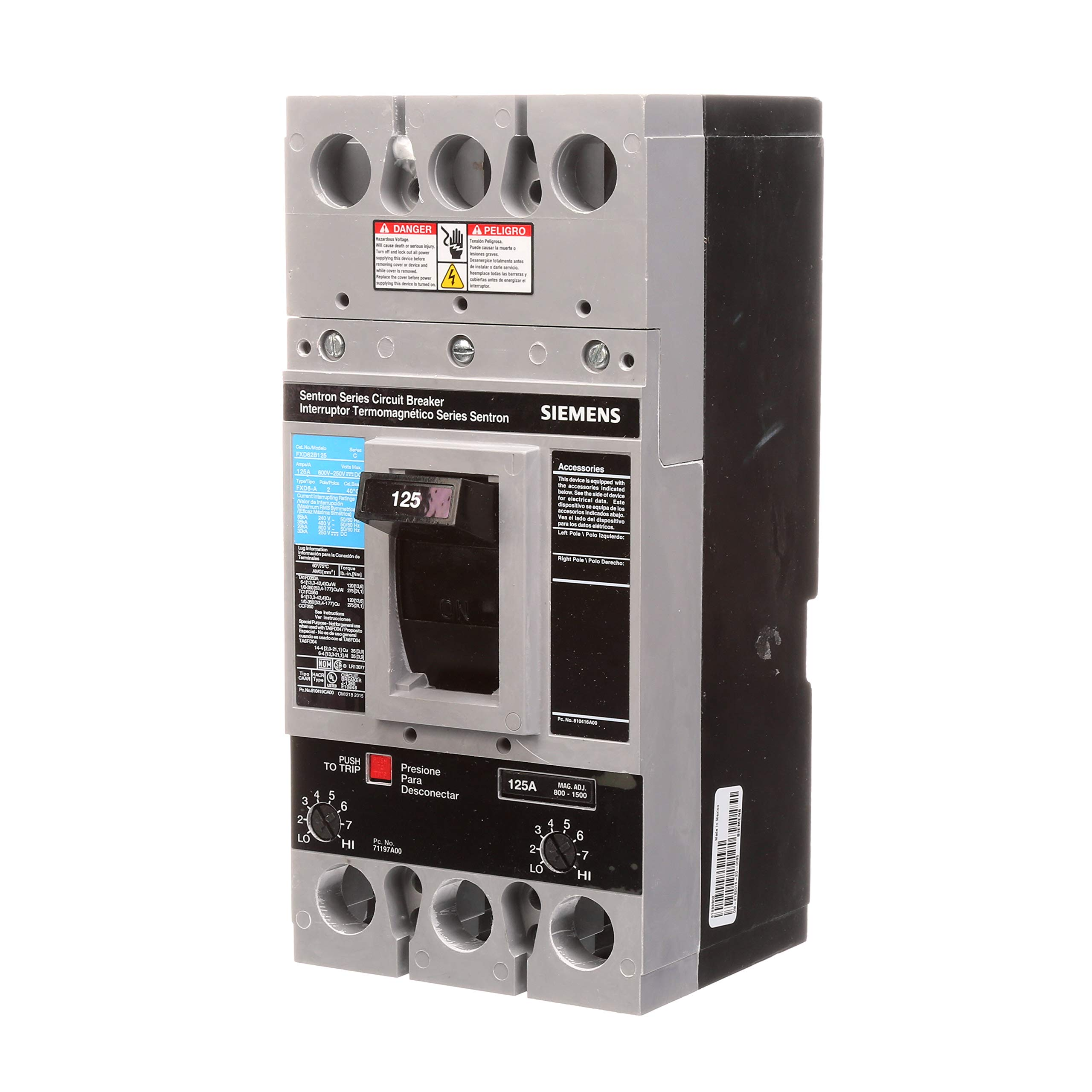 Siemens FXD62B125 125 Amp Type FXD6-A Circuit Breaker