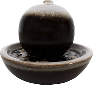 Sunnydaze Ceramic Tabletop Water Fountain with Modern Orb Design and Smooth Glaze Finish - Calming Water Sound - Mini Decorative Water Fountain for Home or Office - 7-Inch