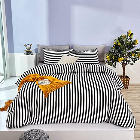 Floral Striped Comforter Cover Twin Kids Girls Modern Flower Comforter Set 2 Pieces 3D Yellow Sunflower Printed Bedding Set Series Black White Striped Pattern Decor Bedspread Cover with Zipper Ties