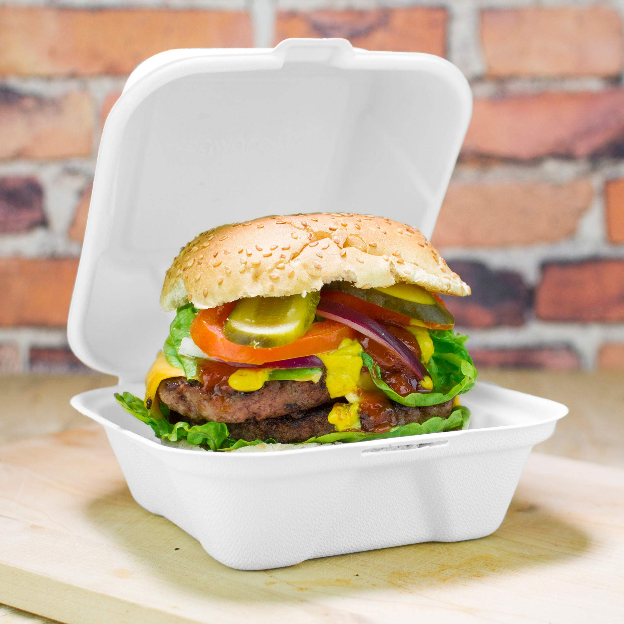 Clamshell Bagasse Takeaway Burger Box 6 Inch - Set of 50 - Eco-Friendly Food Boxes