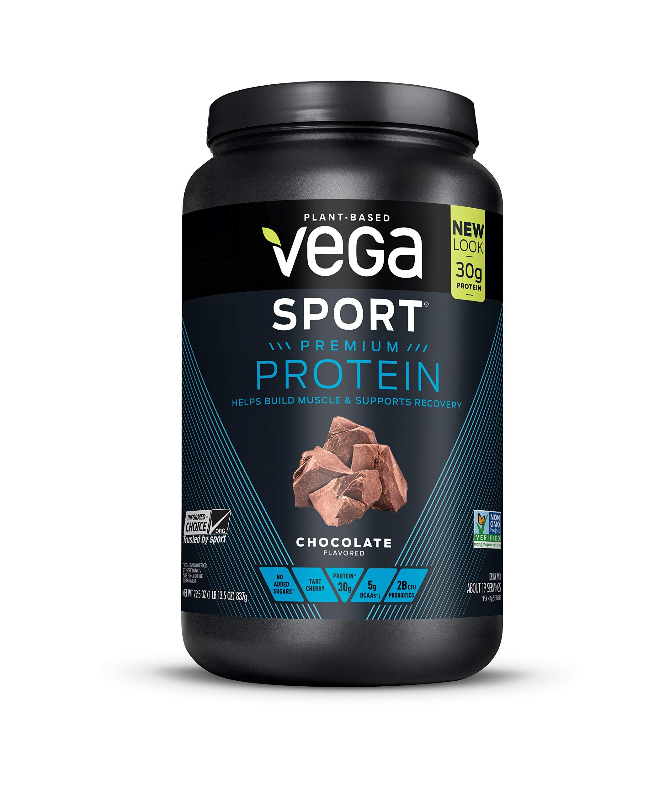Vega Sport Protein Powder Chocolate(19 Servings, 29.5oz)  - Plant-Based Vegan Protein Powder, BCAAs, Amino Acid, tart cherry, Non Dairy, Keto-Friendly, Gluten Free,  Non GMO (Packaging May Vary)