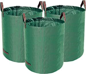 Accurato 3-Pack 72 Gallon Reusable Yard Leaf Waste Bags Heavy Duty Garden Lawn Trash Containers w/ 4 Handles