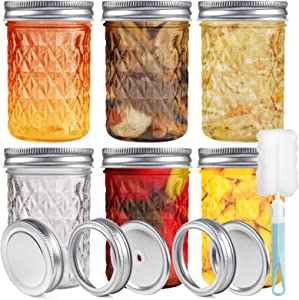VIEWALL Glass Mason Jars with Lids & Bands, Mason Canning Jars Top Food Storage Caps for Jam Honey Wedding Favors Shower Favors Baby Food and DIY Magnetic Jars