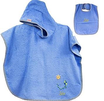 Feiner-Tropfen Fina de gota ♥ Baby Toalla con capucha/Toalla con capucha poncho de baño 75 x 120 cm - Incluye Babero Dragón Azul Personalizado con nombre ...