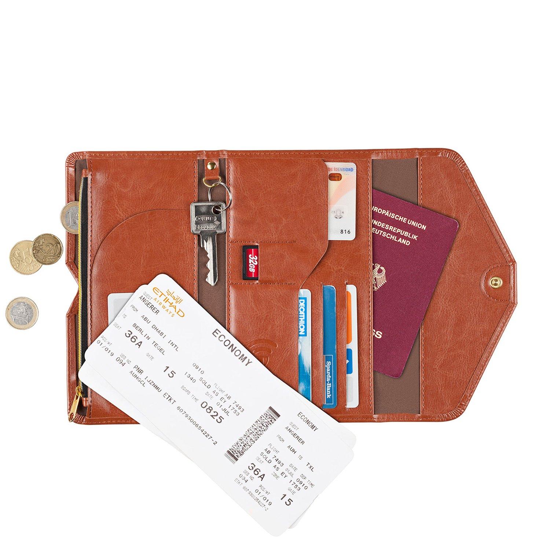 Organizador de viaje con protección RFID, billetera para documentos de viaje, pasaporte y tarjetas de crédito marrón marrón: Amazon.es: Equipaje
